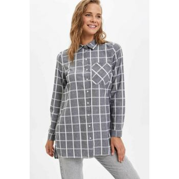 Women's Black Plaid Shirt Tunic J9610AZ.19AU.BK27