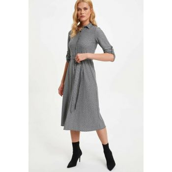 Women's Gray Plaid Regular Fit Long Shirt Dress M6309AZ.19AU.GR2