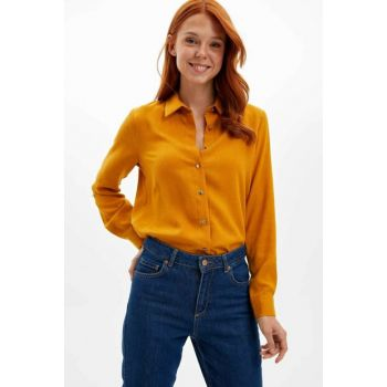 Women's Yellow Foldable Sleeve Long Sleeve Shirt M0770AZ.19WN.YL26