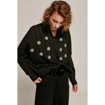 Women's Black Stone Embroidered Striped Bat Sleeve Shirt Y19W109-30518