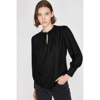 Women's Black Tops, Crew Neck Blouse 0KAK68104PW