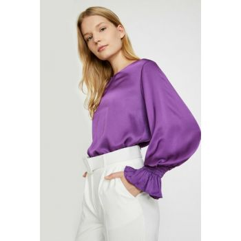 Women Purple Ruffle Detail Blouse 0KAK68584PW