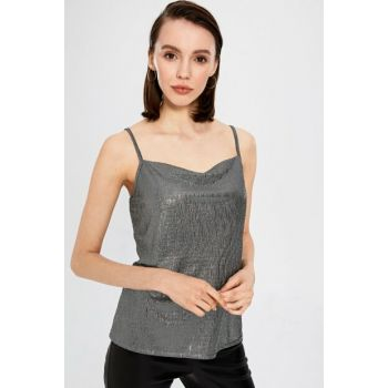 Women's Dark Gray Silvery Blouse 9WM918Z8