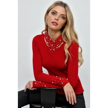 Women's Red Cross Neck Pearl Blouse SMM01