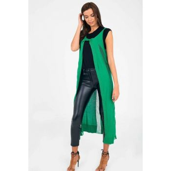 Green Women Sweater Long Vest YLK0164D0018