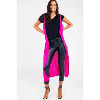 Fuchsia Women Sweater Long Vest YLK0164D0017
