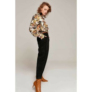 Women Black Trousers With Pockets Trousers Y19W126-10431-1