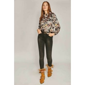 Women Black Trousers With Fur Slimfit Jeans 9958 Y19W109-9958