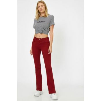 Women Burgundy Normal Waist Pocket Detail Spanish Trousers 9YAK43901MW