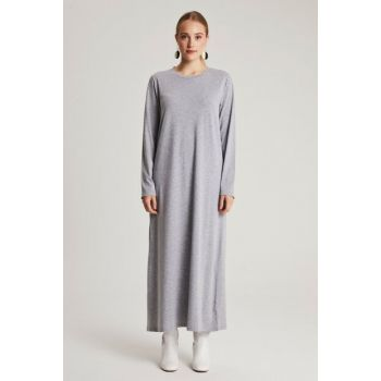 Women Gray Basic Dress with Natural Fabric E7001