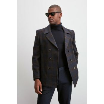 Navy Blue Double Breasted Coat TMNAW20KB0229
