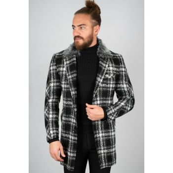 Black Men Fur Detail Stamp Coat - Slim Fit 2002169 ARMEK2002169
