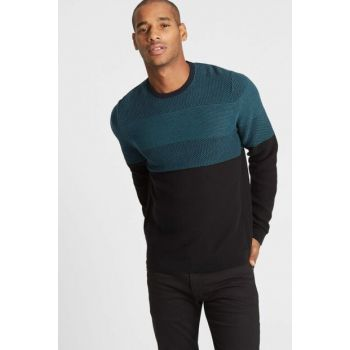 Men's Green Pure Cotton Slim Fit Sweater T30008108Q