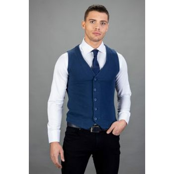 Men's Dark Blue Basic Vest - YL180004-885