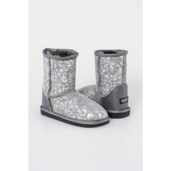Gray Genuine Fur Flower Pattern Classic Children Boots 181005