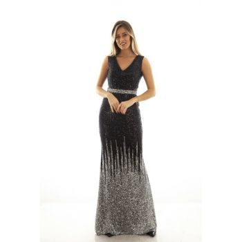 Women's Black / Silver Evening Dress 1607813-10