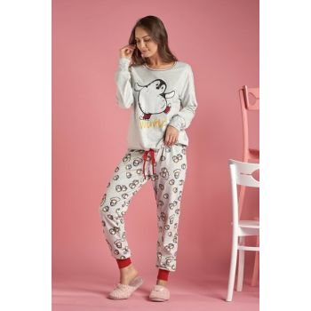 Women's Snow Melange Printed Pajamas Suit 11412