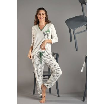 Women's Light Beige Melange Printed Pajamas Suit 11460