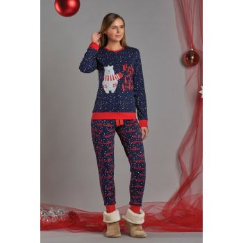 Women's Navy Blue Points Printed Pajama Suit 11749