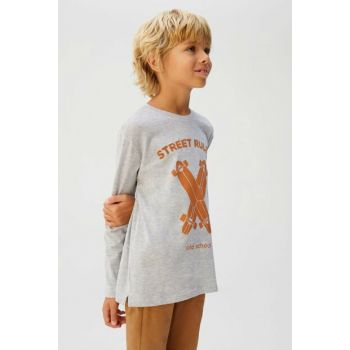 Medium Flecked Gray Boy Skate Printed T-Shirt 53065016