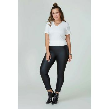 Women's Black Faux Leather Inside Tights 111113500016