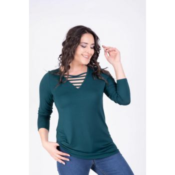 Women's Collar Tie Green Blouse L 34122