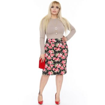 Women's Floral Stretchy Skirt 5E-0436 5E-0436