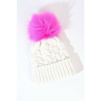 Women's Cream Fuchsia Pompom Detailed Hat Ş3050 ADX-0000020466