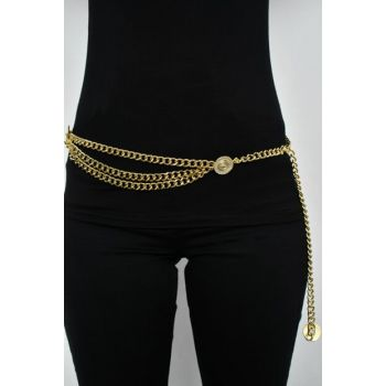 Women's Gold Color Chain Belt BE203