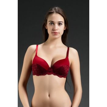 Women's Burgundy Underwire Micro Ruched Push Up Padded Classic Bra