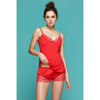 Women Red Lace Detailed Babydoll 5670SALV19B_056