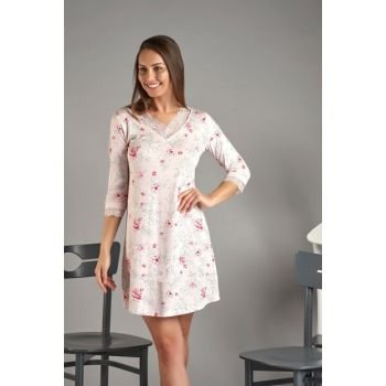 Women's Pink Floral Three-quarter Sleeve Nightgown 11583