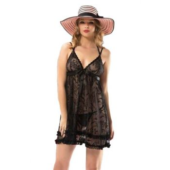 Women's Black Fancy Frilly Ruched Nightgown 24068 T3127