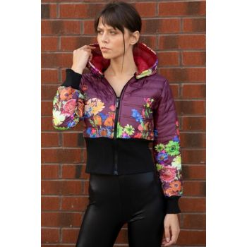 Women's Plum Hooded Floral Pattern Inflatable Coats P-015636