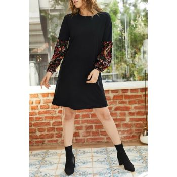 Women's Black Sleeve Patterned Balloon Sleeve Dress 9KXK6-42880-02