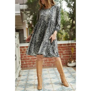 Women's Black Snake Pattern Blocked Dress 9KXK6-42238-02