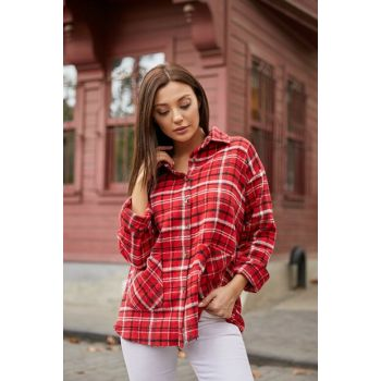 Plaid Long Shirt with Pockets - RED-WHITE 20KGO161K105