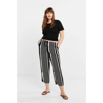 Women's Off White Patterned Baggy Trousers 51010631