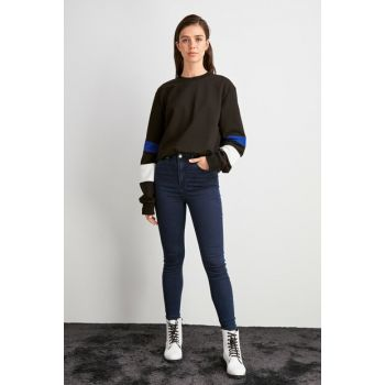 Navy Blue High Waist Skinny Jeans TWOAW20JE0458