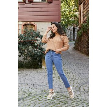 High Waist Straight Hem Jean Pants - BLUE - 20KPA443K155