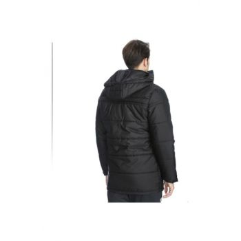 Men's Black Hooded Team Coat 201622-00b 201622-00B