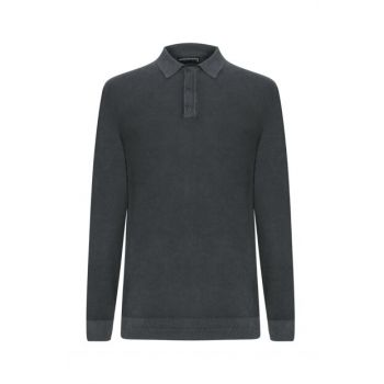 Men's Smoked Polo Neck Cotton Pullover 338078