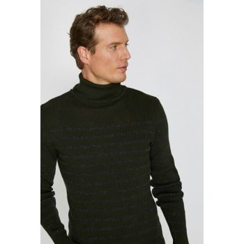 Men's Green Striped Sweater 0KAM91356LT