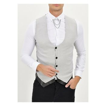 Y 151 Slim Fit Gray Sports Vest Y151V01020