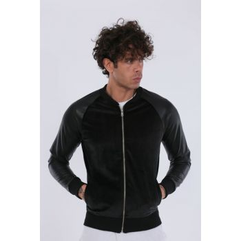 Men's Leather Reglan Sleeve Black Suede Jacket CKT558Si