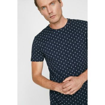 Men's Navy Blue Patterned T-Shirt 9YAM14812OK