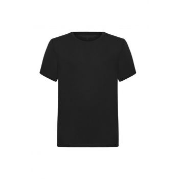 Men's Black Crew Neck Cotton Print T-Shirt 353602