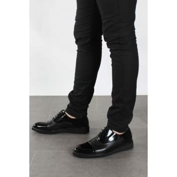 Genuine Leather Black Patent Leather Men's Classic Shoes 1850191