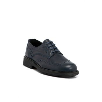 Navy Blue Leather Men's Shoes 54592A38 E19S1AY54592