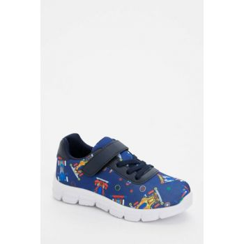 Printed Lace-up Velcro Detailed Sneaker M1645A6.19AU.NV2